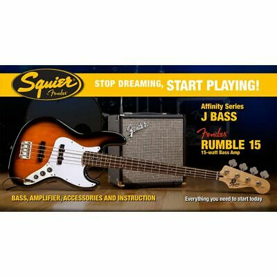 Squier Set Affinity Jazz Bass BSB / Fender Rumble 15 Bass Amp + weiteres Zubehör