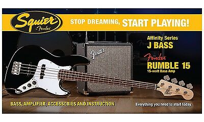 Squier Set Affinity Jazz Bass BLK / Fender Rumble 15 Bass Amp + weiteres Zubehör