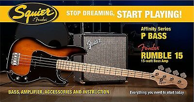 Squier Set Affinity Precision Bass BSB / Fender Rumble 15 Bass Amp + Zubehör