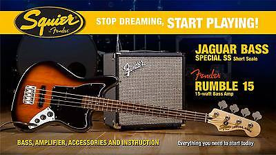 Squier Set Jaguar Special SS Bass BSB / Fender Rumble 15 Bass Amp + Zubehör