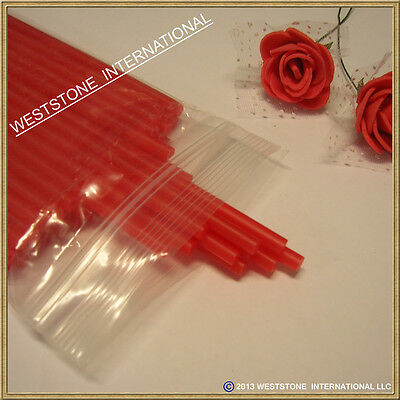 "50pcs 6"" x 5/32"" Plastic lollipop sticks for cake pops lollipop candy - Red"