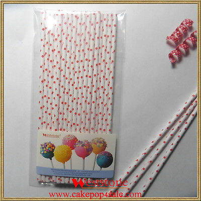 "25pcs 6"" (15cm) Paper Sticks For Cake Pops or Lollipop Candy - Polka dot Red"