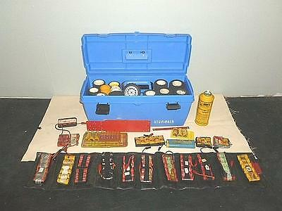 Large Lot of Radio Control Car Accessories Tires and Battery Packs in Toolbox-BL