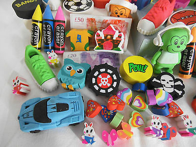 Job lot Novelty Erasers  Party Bag Filler/ Rewards/Pinata pick your amount
