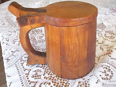 Primitive Wooden Wood Beer Stein With Lid