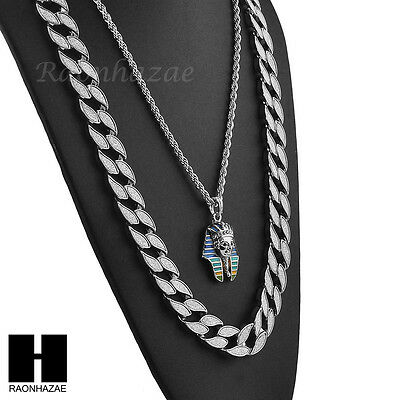 """Men Iced Out Cuban Link 30"""" Chain / King Tut Pendant 26"""" Rope Necklace Set Sc39S"""