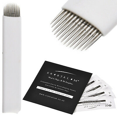 Microblading 50 Blades 14 PIN U Makeup Needles Manual Eyebrow Tattoo CRYSTALUM®