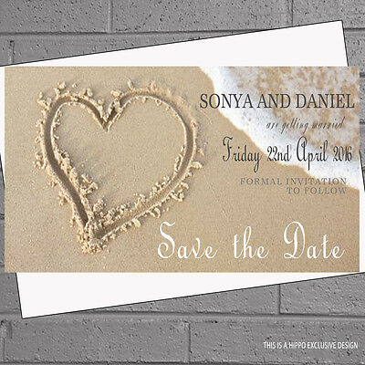 Wedding Save the Date Cards with Envelopes x 20 Hearts Sand on Beach H0248
