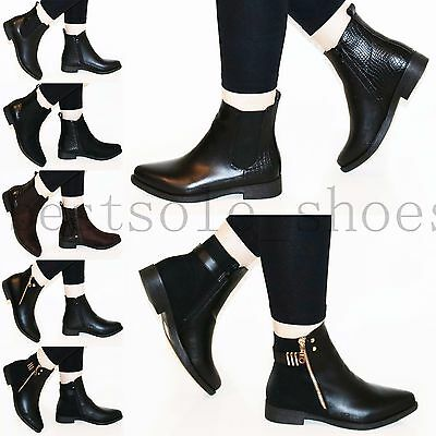 Womens Ladies Girls Side Zip Flats Low Block Heel Chelsea Ankle Boots Shoes Size