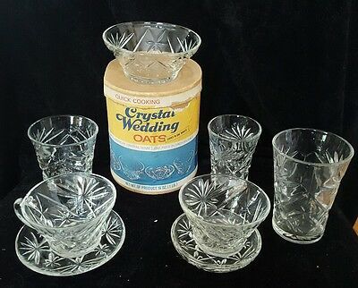 Vintage Crystal Wedding Oats Box & Full Set (8 Pieces) of Oatmeal Glass