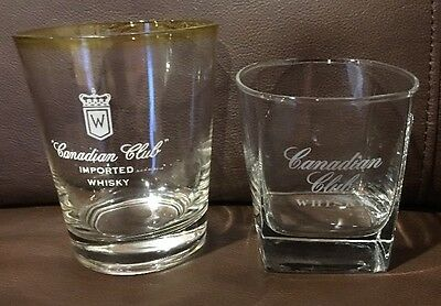 Unique Lot Of 2 Canadian Club Whiskey Glasses. Vintage