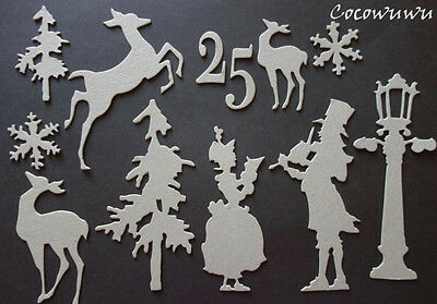 Winter Christmas Festive Chipboard Die cuts U CHOOSE Scrapbooking Embellishment