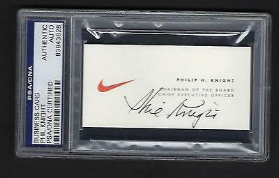 "Phil Knight signed business card PSA Authenticated ""Nike"" Chairman of the Board"