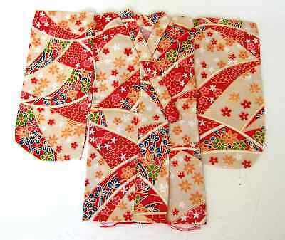 Japanese Handsewn Cotton Doll Kimono -  Red Stars