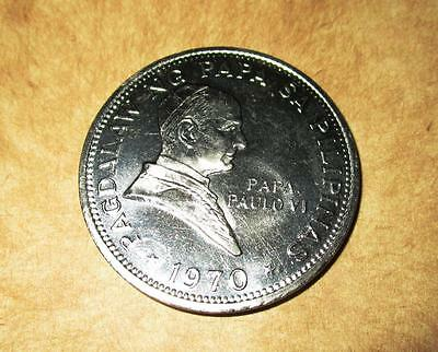 1970 1 piso NICKLE coin Pagdalaw ng Pope Paulo V1 Visit Marcos PHILIPPINE