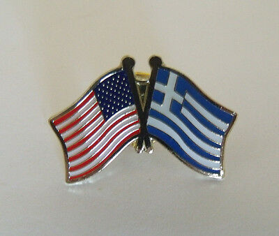 Greece Flag and USA Lapel Pin Crossed Friendship Greek Cap Hat Shirt Tie Pin