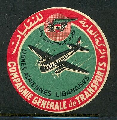 Compagnie General De Transports Lebanese Airlines Vintage Luggage Label
