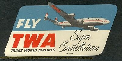 Twa Trans World Airlines Super Constellations Vintage Luggage Label