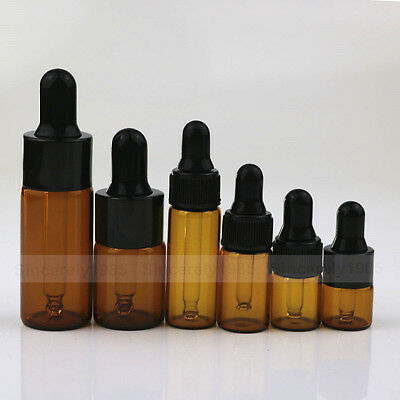 1~100X  1-10ml Amber Eye Dropper Glass Bottle Essential Oil Pipette Aromatherapy