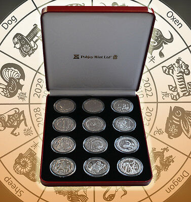 ISLE OF MAN Complete 12-Coin Set Chinese Lunar Crowns 1993-2004 in Red Mint Box