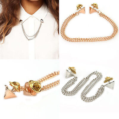 Women's Fashion OL Chains Spike Rivets Studs T-shirt Collar Tips Brooch Optimal
