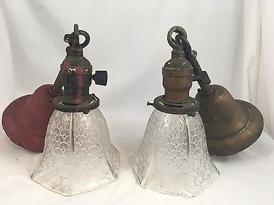 Pair Antique 1900's Pendant Ceiling Light Fixtures VTG 2 Victorian Chandeliers