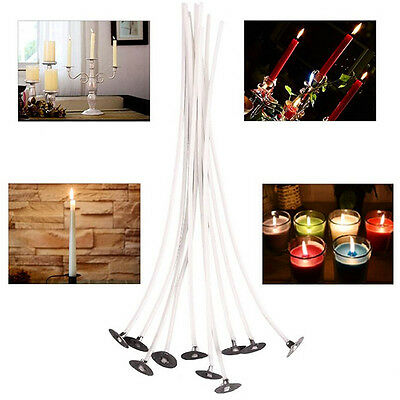 100pcs Candle Wicks Pre Waxed With Sustainers Cotton Coreless DIY Decor 20CM