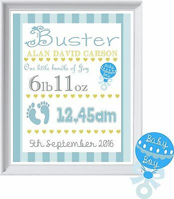 BABY BOYS NAME | Personalised Picture | New Baby | Gift | FREE POST | (NP109)