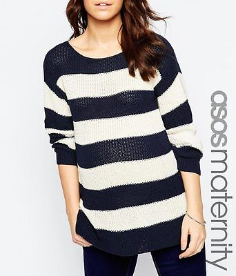 Gorgeous NEW ASOS navy blue & white STRIPED MATERNITY JUMPER  18 20 rrp £30