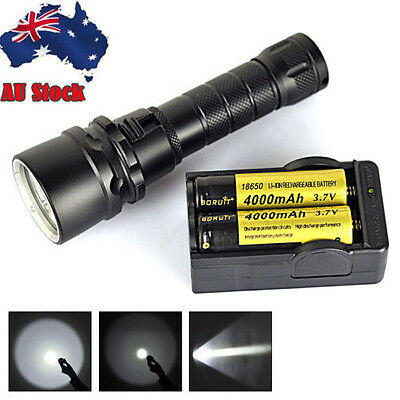 8000Lm Scuba Diving XML L2 LED Flashlight Torch Waterproof Light 2X18650+Charger