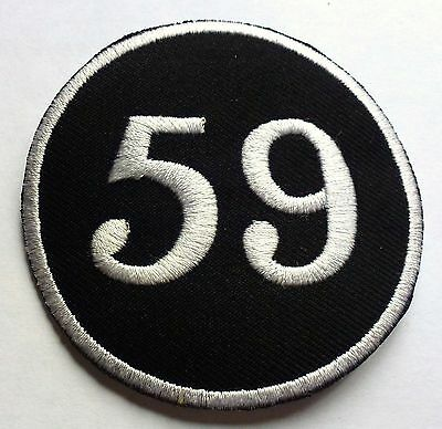 BLACK 59 CAFE RACER - SEW OR IRON ON BIKER MOTORCYCLE PATCH 75mm x 75mm