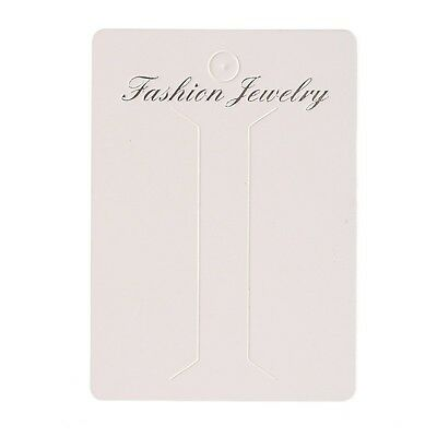 100pcs White Paper Necklace Display Packing Cards Fit Jwewlry DIY 6.2*8.7cm