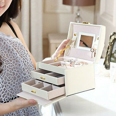 Jewelry Box Storage Organizer Case Ring Earring Necklace Mirror PU Leather New