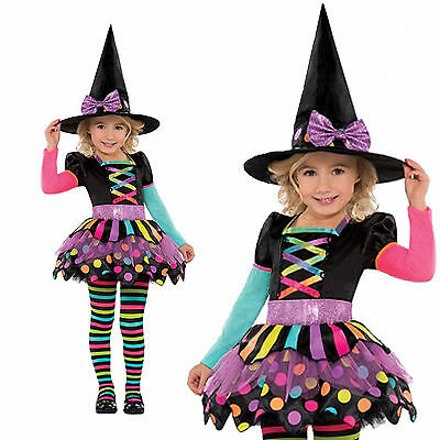 Childrens Miss Matched Witch New Kids Girls Halloween Fancy Dress Outfit Costume