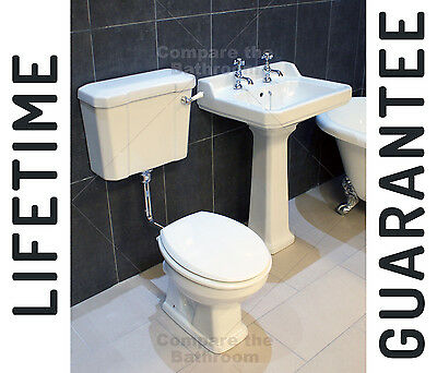 Traditional Victorian Low Level Toilet + Basin Set Bathroom Suite WC +  Sink