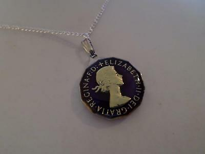 Vintage Enamelled Three Pence Coin 1958 Pendant & Necklace. Xmas / Birthday Gift