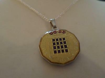 Vintage Enamelled Three Pence Coin 1964 Pendant & Necklace. Xmas / Birthday Gift