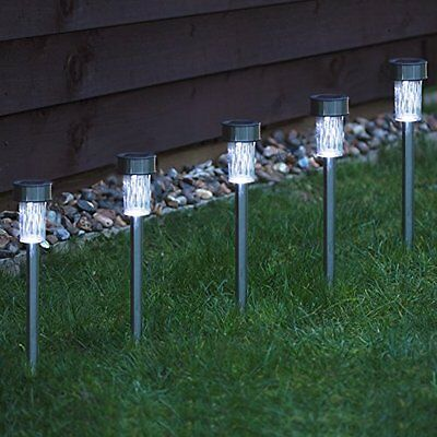 10 x STAINLESS STEEL SOLAR POWERED GARDEN POST PATH LIGHTS WHITE LED LAWN PATIO