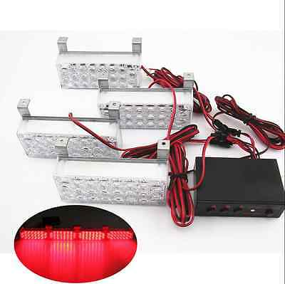 4x22 LED Red Strobe Grille Emergency Warning Hazard Flashing SUV Car Light Lamp
