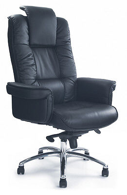 Hercules Black Leather Faced Gull-wing Executive Office Chair by Eliza Tinsley