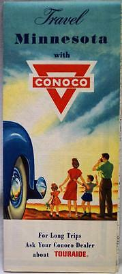 Conoco Oil State Of Minnesota Automobile Highway Road Map 1956 Vintage Travel