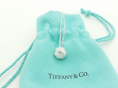 Tiffany & Co. Sterling Silver Somerset Mesh Twist Knot Rope Pendant Necklace 16