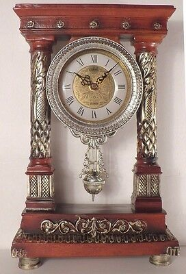Antique look Decorative Mantel Shelf Desk Poly Resin Clock with Pendulum