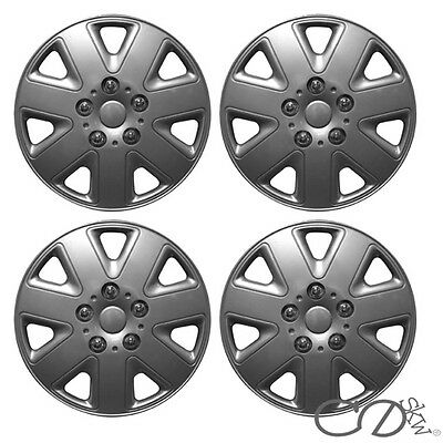 """4 x 14 INCH ALLOY LOOK CAR WHEEL TRIMS/COVERS/SILVER 14"""" HUB CAPS ABS PLASTIC"""
