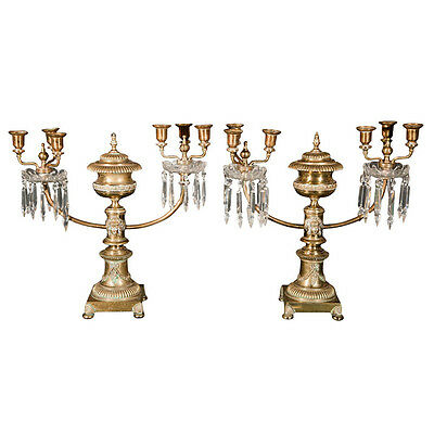 Pair of Brass Argand Two Arm Candelabra Lamps 102-7165