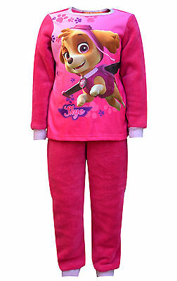 Girls Paw Patrol Printed Fleece Polar Long Length Pyjamas 2 to 6 Years