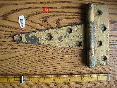 Old Antique Vintage 1 Pc Cast Iron Barn Farm Strap Hinge Made In Usa # 81