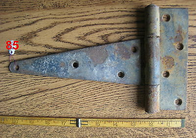 Old Antique Vintage 1 Pc Cast Iron Barn Farm Strap Hinge Made In Usa # 85