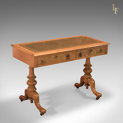 Antique Writing Table, Victorian Ash Library Desk, Hall, Side, Console, c1870