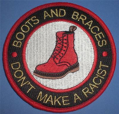 Skinhead Ska Reggae Patch - Boots And Braces Don't Make A Racist - White Centre